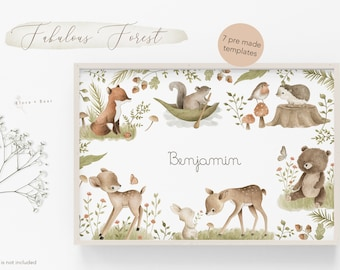 PRE MADE TEMPLATES  Woodland animals watercolor clipart