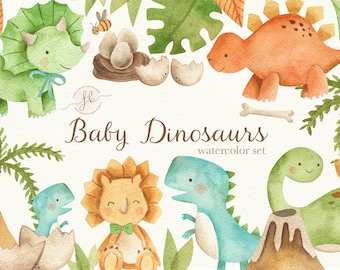 Baby Dinosaurs Watercolor Clipart