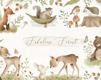 Woodland Animals Watercolor Clipart Set Forest