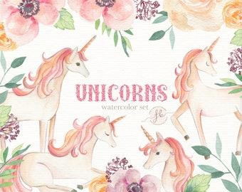 Unicorn Clipart  Watercolor Clipart  Unicorn Invitation Floral Clipart Digital Download  Digital Paper Unicorn