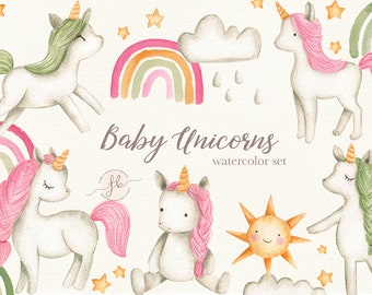 Baby Unicorns Watercolor Clipart Nursery Printable