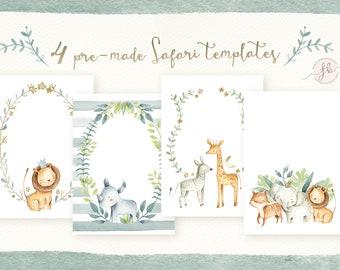 Safari Baby Shower Invitation Jungle Safari Template Digital Download Lion Giraffe Elephant Tiger