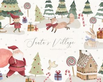 Christmas Watercolor Clipart Santa's Village