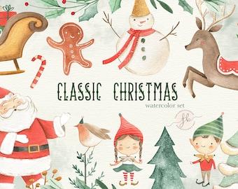 Christmas Clipart Winter Holidays Watercolor Clipart Santa Claus Digital Download