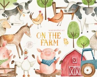 Farm Animals Watercolor Clipart Digital Download Printable Clip Art Nursery Art Wall Art Pig Cow Horse