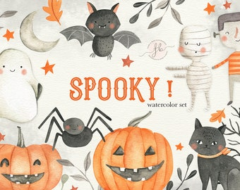 Halloween Watercolor Clipart Cute Fall Pumpkin Autumn Clipart