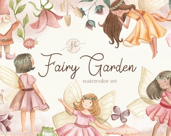 Fairy Garden Watercolor Clipart Enchanted Forest Digital Download