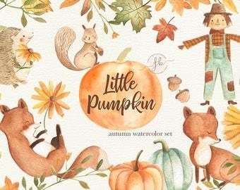 Autumn Watercolor Clipart Fall Clipart Pumpkin Printable Digital Download