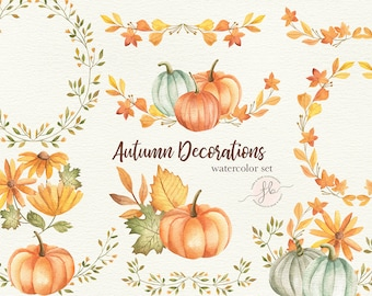 Autumn Watercolor Clipart Fall Digital Download Planner Printables