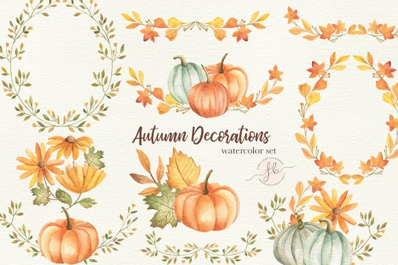 Autumn Watercolor Clipart Fall Digital Download Planner