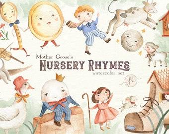 Watercolor Clipart Mother Goose Nursery Rhymes Digital Download Printable