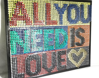 All you need is love lyric unique screw art framed