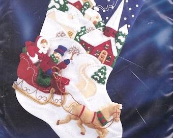 Bucilla Winter Twilight Sleigh Horse Church Christmas Felt Stocking Kit 83389