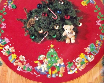 bucilla 43 christmas teddy bears toys gifts holiday felt tree skirt kit 83136