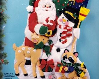 "Repackaged Jumbo 28"" ""Santa and Snowman"" Deer Raccoon Felt Stocking Kit Bucilla 83119 R"