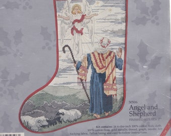 Candamar Angel and Shepherd Sheep Christmas Cross Stitch Stocking Kit 50506