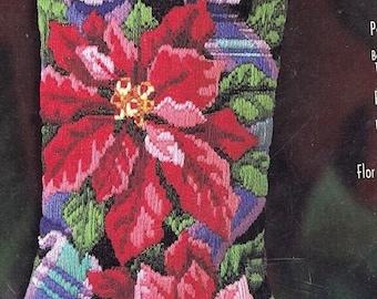 Vintage Bucilla stocking kit 60549 needlepoint and long stitch poinsettia