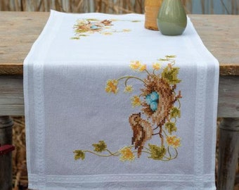 Feather Wreath Table Runner Winter Botanical   Cotton Sateen Table Runner by Spoonflower Southern Spring Teal by nouveau/_bohemian