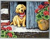 Dimensions Patient Puppy Dog Flowers Flag Scarf Needlepoint Wall Hanging 20014