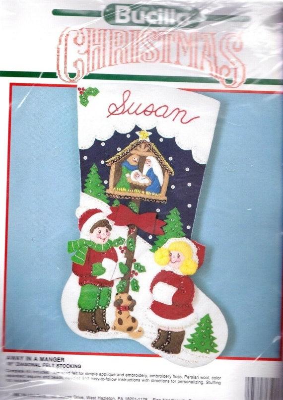 "Bucilla Silent Night ~ 18/"" Felt Christmas Stocking Kit 85173 Nativity Baby Jesus"