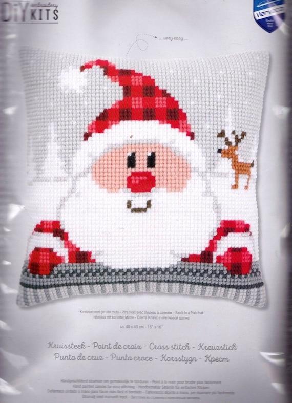 Vervaco Christmas Blue Birds Holiday Snow Chunky Cross Stitch 16 Cushion Pillow Top Kit
