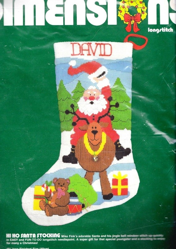 Brand New Sweet Santa Stocking Needlepoint Kit-16 Long Stitched In Floss Brand New