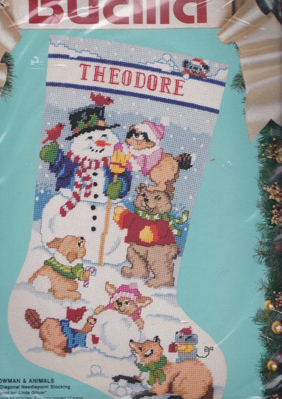 Christmas Snowman /& Bear Stocking Needlepoint Kit