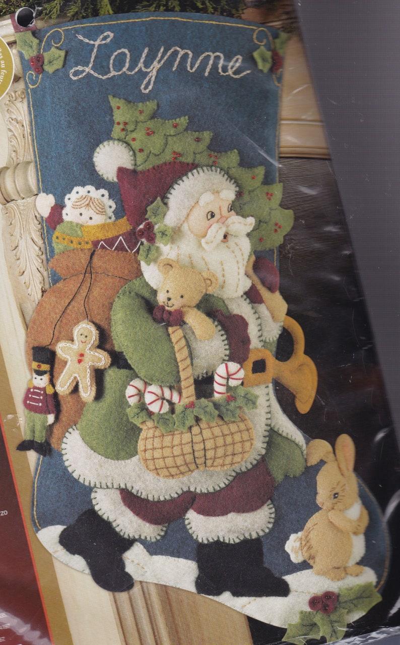 Woodland Santa Gifts Teddy Bear Christmas Felt Stocking Kit Bucilla NIP 85179 E