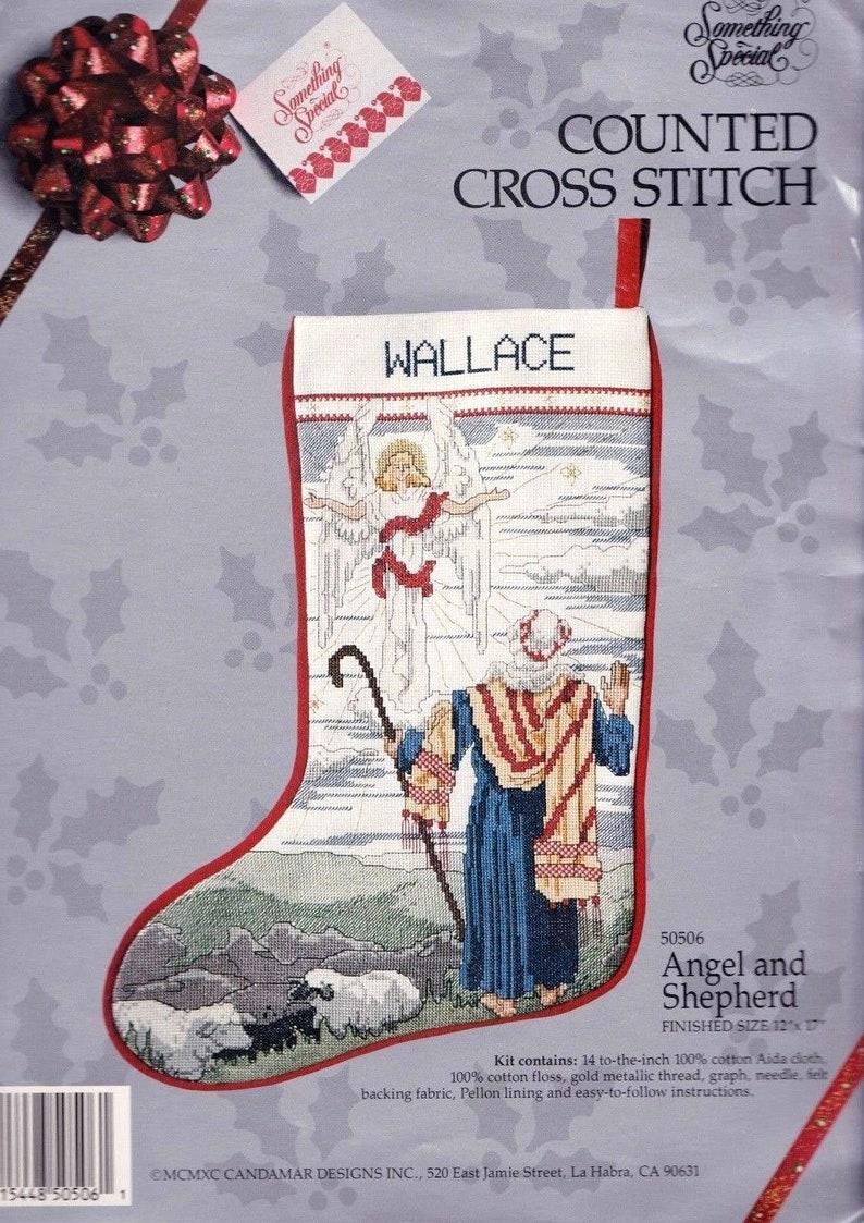Repackaged Candamar Angel and Shepherd Nativity Christmas Cross Stitch Stocking Kit 50506 R
