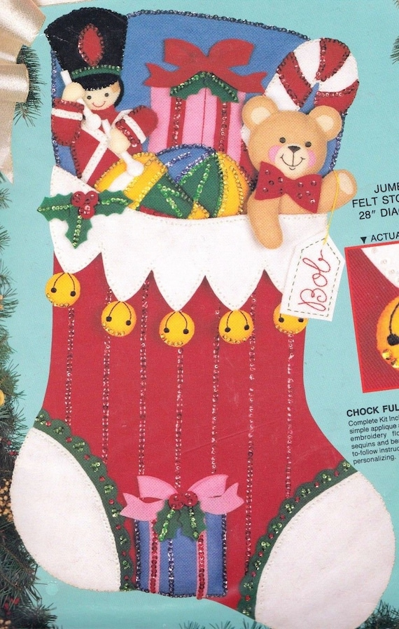 Jumbo Bucilla Chock Full of Toys Bear Soldier Christmas Felt | Etsy