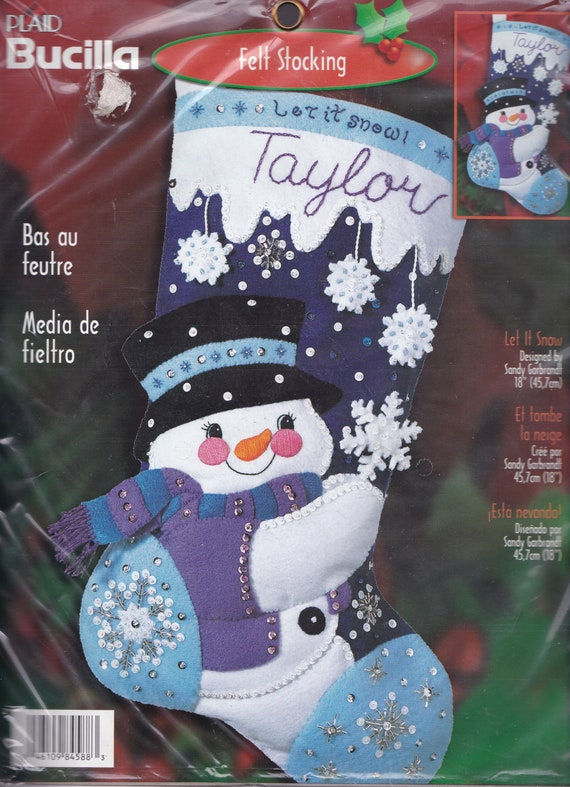 "BUCILLA FELT JEWELED 18/"" CHRISTMAS STOCKING KIT DOWNHILL SKIERS SNOWMAN SANTA"