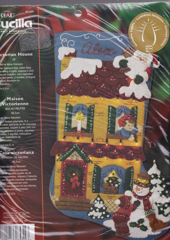 Bucilla Victorian House Santa Snowman Lighted Felt Christmas Etsy