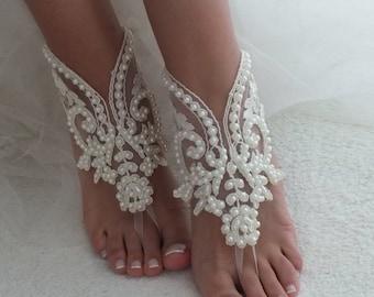 fbca8a0ecc151 EXPRESS SHIP Beach Wedding Barefoot Sandals ivory lace barefoot sandals  beach shoes Bride Shoe Bridal Accessories Bridal beach shoes