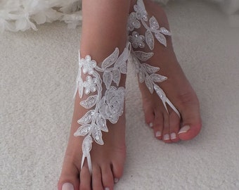 819aa4e146ed6 White or ivory lace barefoot sandals wedding barefoot Flexible wrist lace  sandals Beach wedding barefoot sandals Wedding sandals Bridal Gift