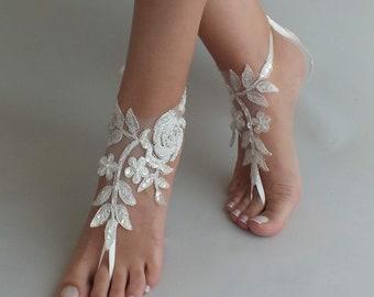 7e1103202b07 24 Color lace Barefoot sandals Beach wedding