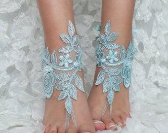 6046d5a19272c Blue lace barefoot sandals wedding barefoot something blue lace sandals  Beach wedding barefoot sandals Wedding sandals Bridal Gift