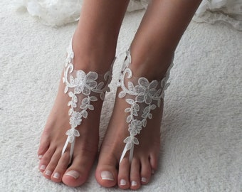 27142d047e005 Ivory lace barefoot sandals Beach wedding barefoot Romantic lace sandals  Beach wedding barefoot sandals Bellydance Beach Pool Bridal Anklet