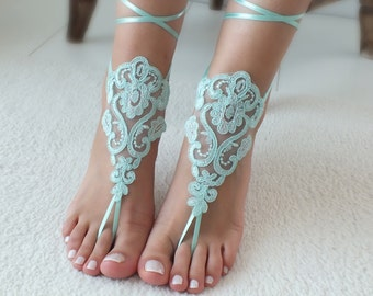 c624abf7c00f6 Mint lace barefoot sandals wedding barefoot Flexible wrist lace sandals  Beach wedding barefoot sandals beach Wedding sandals Bridal