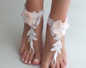 9f8b3fc1826b8 Beach wedding barefoot sandals blush flowers wedding shoes beach shoes  bridal accessories bangle beach anklets bride bridesmaids gift