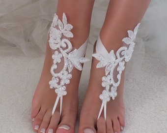 069acc01937 white or ivory lace barefoot sandals wedding barefoot Flexible wrist lace sandals  Beach wedding barefoot sandals Wedding sandals Bridal Gift