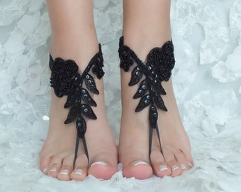 b1139ed115f2c black and ivory french lace gothic barefoot sandals wedding prom party  steampunk burlesque vampire bangle beach anklets bridal Shoes footles