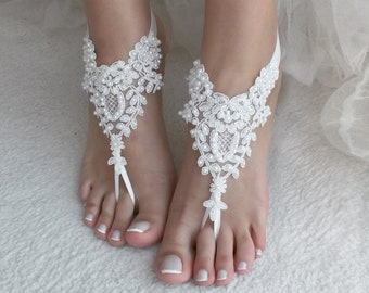 2791b5077e80d EXPRESS SHIPPING White Beach wedding barefoot sandals Pearl wedding shoes  beach shoes bridal accessories beach anklets Bridesmaid gift