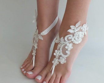 d9df54dbb700a EXPRESS SHIPPING Ivory lace barefoot sandals