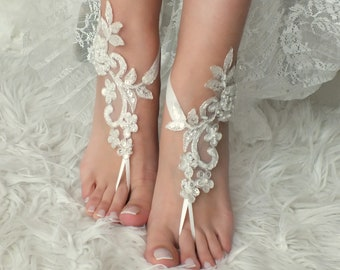 a6d6aaa3a8a6f EXPRESS SHIP Beach Wedding Barefoot Sandals ivory silver lace barefoot sandals  beach shoes Bridesmaid Gift Bridal Accessories Bridal Anklets