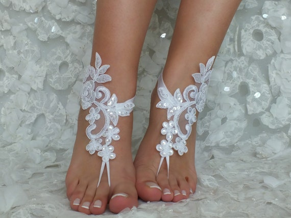 Flexible sandals Bridal or Beach barefoot white lace sandals sandals sandals Gift barefoot Wedding wrist lace wedding barefoot ivory wedding x4wnwT0