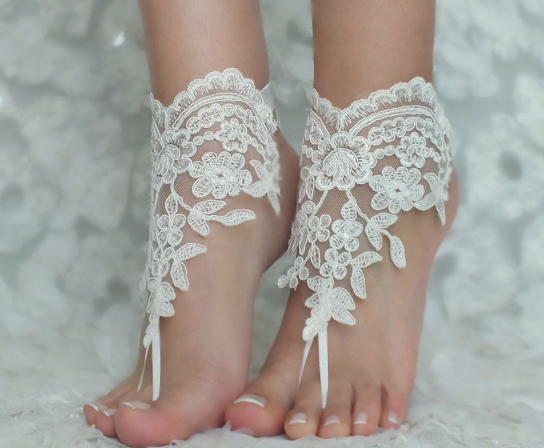 91de83cb0 Champagne or ivory ivory Beach wedding barefoot sandals