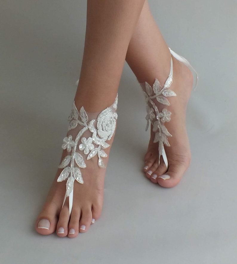 24 Color lace Barefoot sandals Beach wedding barefoot sandals image 0