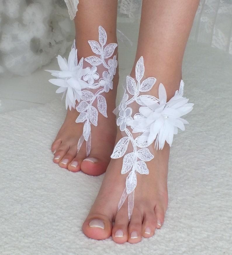 c94c5861669 White lace barefoot sandals floral wedding barefoot Flexible