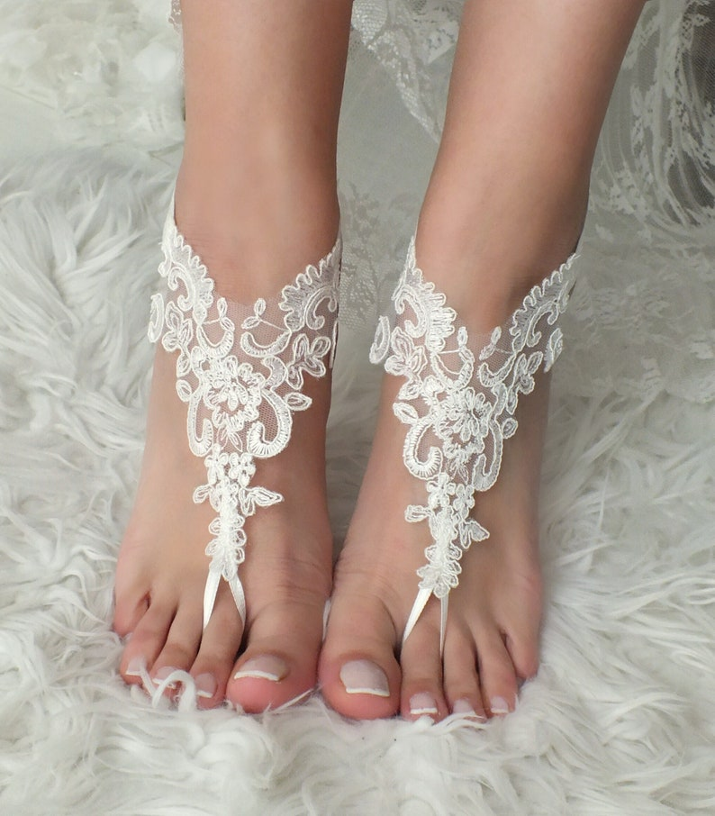 bd57e905cb37 EXPRESS SHIPPING White or ivory Beach wedding barefoot sandals