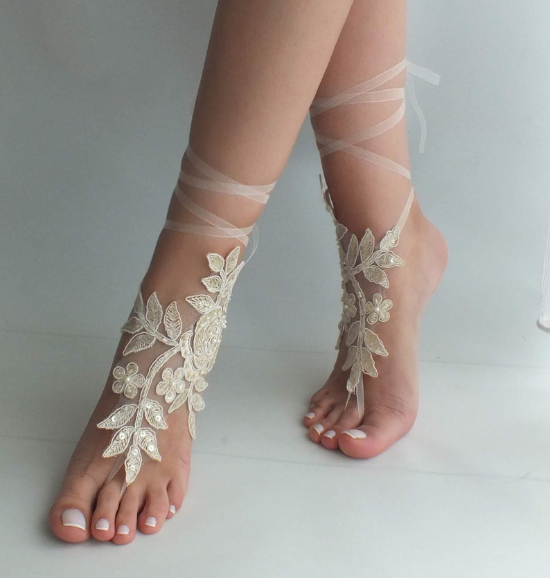 5acf8c966e31 EXPRESS SHIPPING Champagne lace barefoot sandals wedding shoes